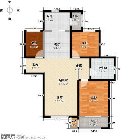 松江城玫瑰郡3室0厅1卫1厨120.00㎡户型图