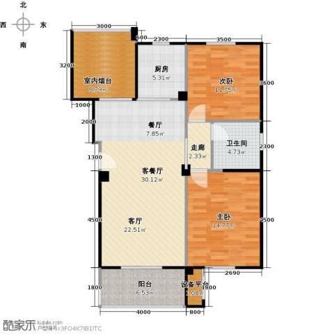 中央华府2室1厅1卫1厨115.00㎡户型图
