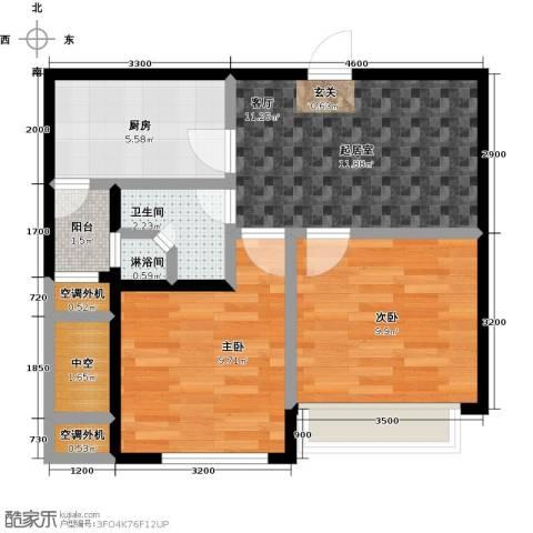 晴湾2室0厅1卫1厨58.00㎡户型图