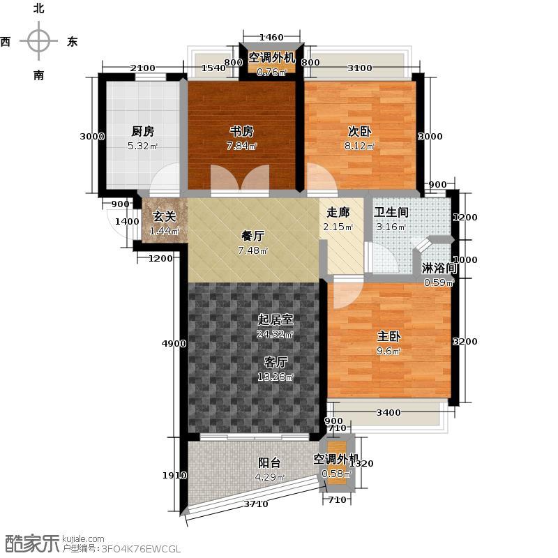 晴湾88.00㎡3室2厅1卫,87.73-88.25户型,共100套户型3室2厅1卫