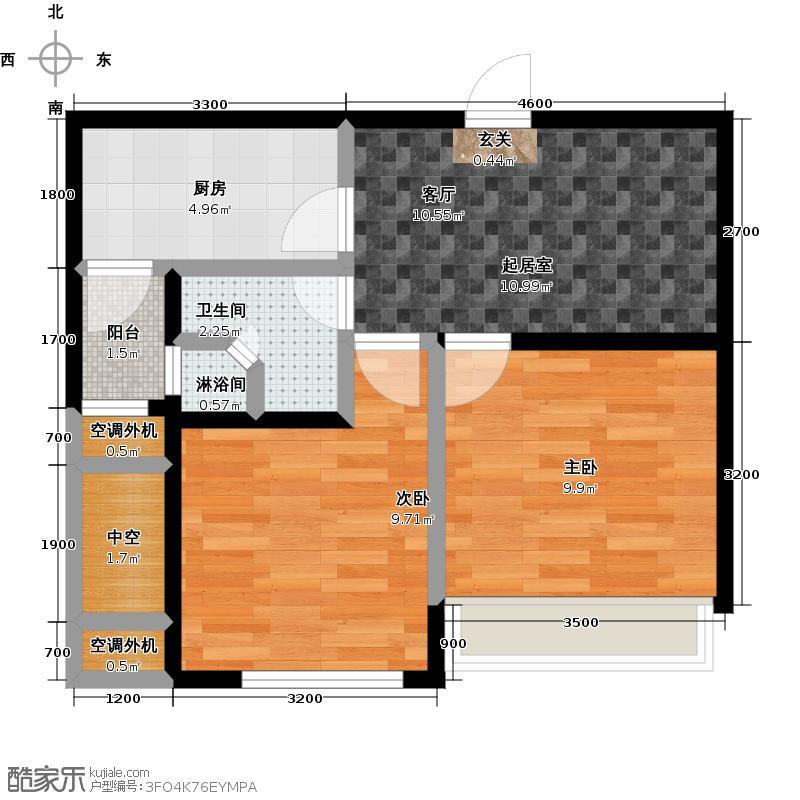 晴湾58.00㎡2室1厅1卫,57.3-58.62平方米,共99套户型2室1厅1卫