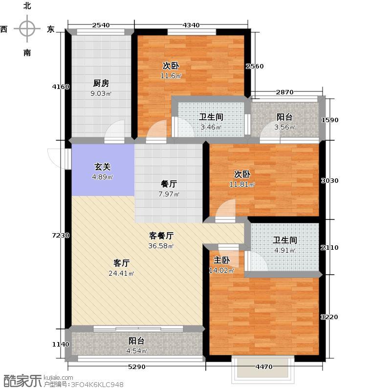 紫熙东苑114.80㎡2号楼三室两厅两卫户型3室2厅2卫