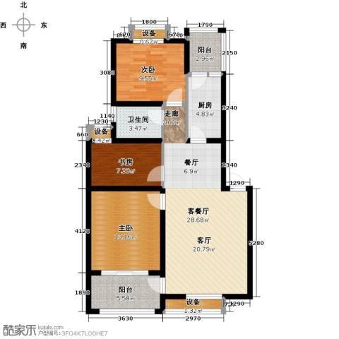 河畔花城3室1厅1卫1厨91.00㎡户型图