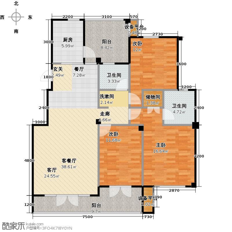 中央华府户型3室1厅2卫1厨