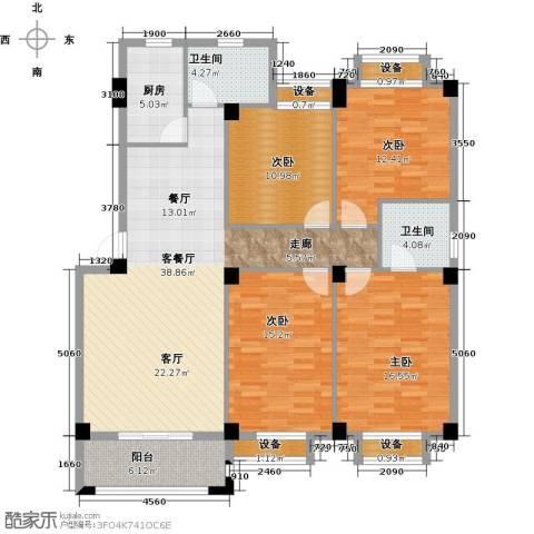 河畔花城4室1厅2卫1厨166.00㎡户型图