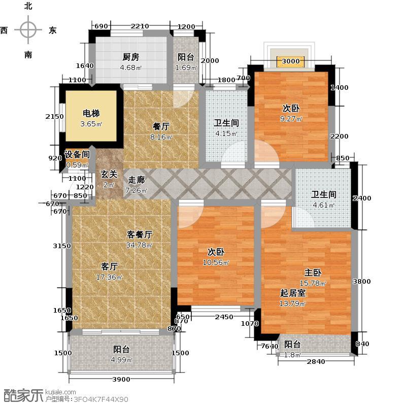 上饶丽城户型3室1厅2卫1厨