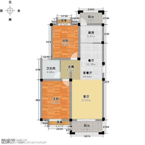 河畔花城2室1厅1卫1厨117.00㎡户型图