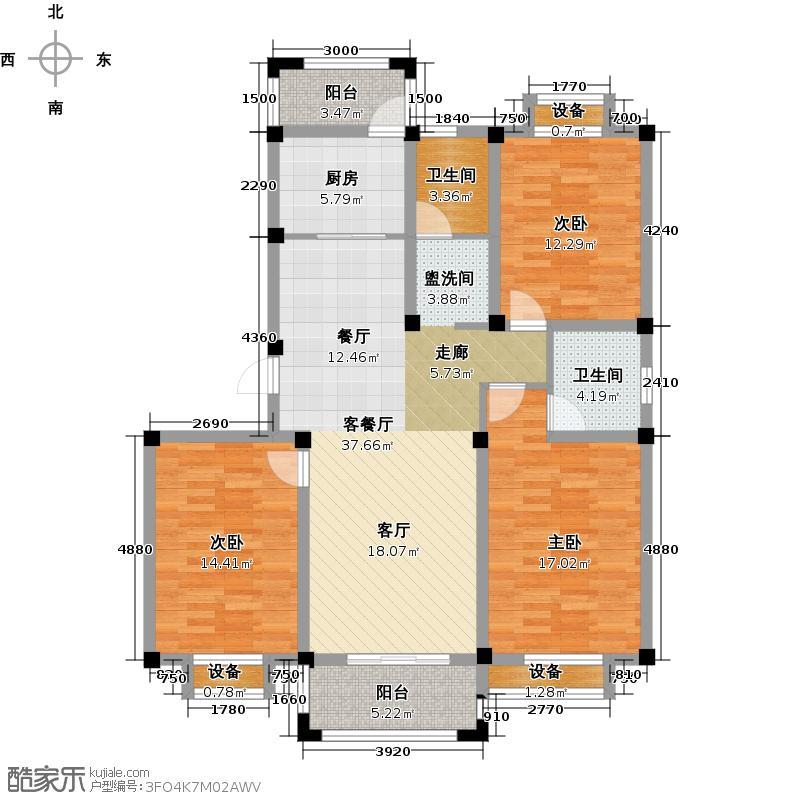 河畔花城户型3室1厅2卫1厨