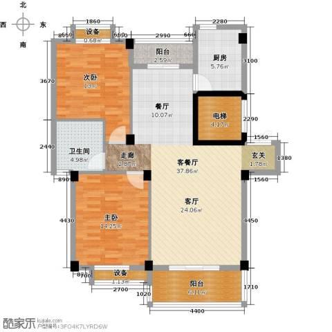 河畔花城2室1厅1卫1厨130.00㎡户型图
