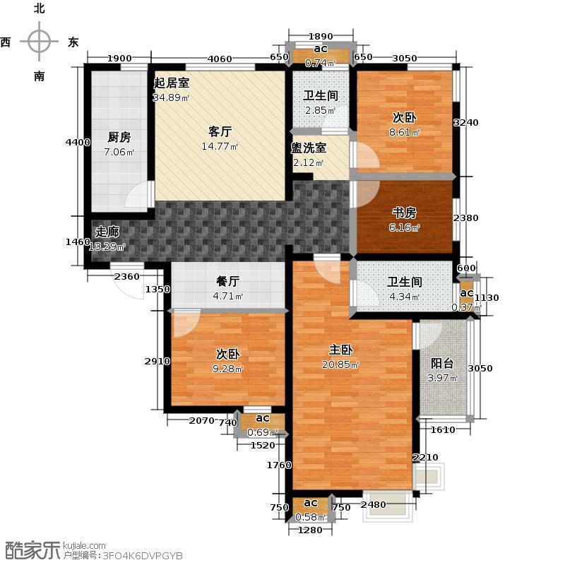 路劲御景城四室两厅两卫132平米户型3室2厅2卫