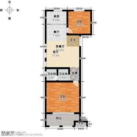 正德广场2室1厅2卫1厨93.00㎡户型图