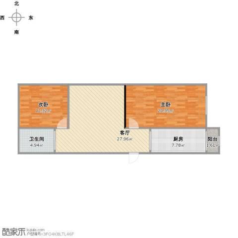 欧风花园2室1厅1卫1厨100.00㎡户型图