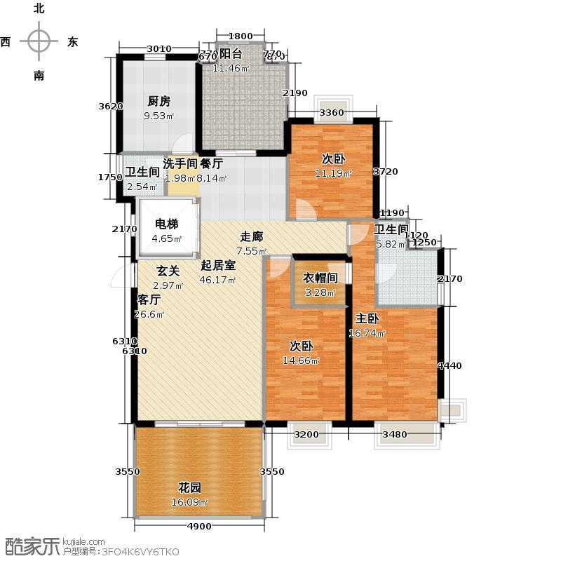 星湖豪景2幢标准层03户型3室2卫1厨