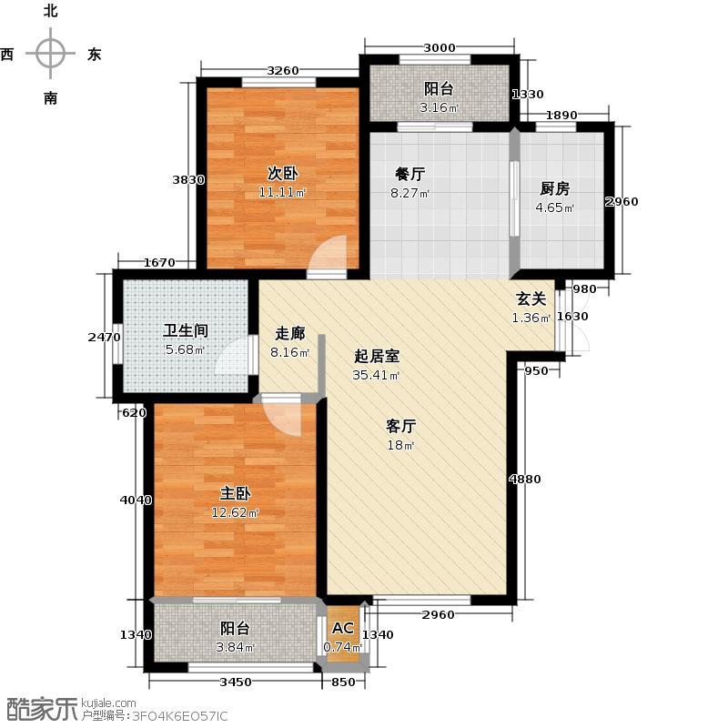 松江城玫瑰郡120.00㎡2、4号楼_t3 A B C户型90-120户型2室2厅1卫
