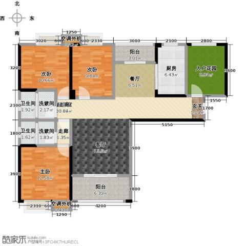 康湾一品3室0厅2卫1厨150.00㎡户型图