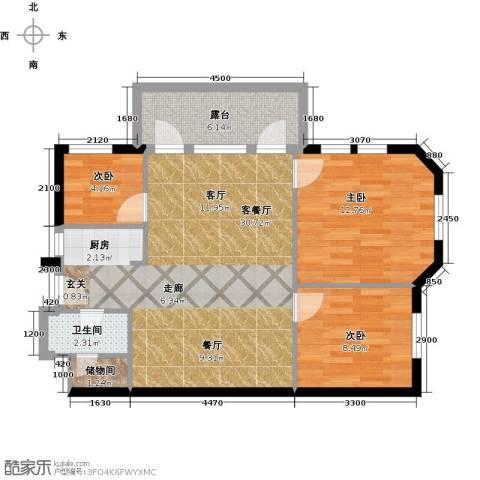 德嘉与海3室1厅1卫0厨92.00㎡户型图