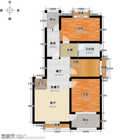 河畔花城3室1厅1卫1厨98.00㎡户型图