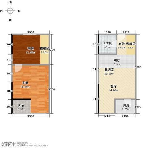 广天国际公寓2室0厅1卫1厨81.00㎡户型图