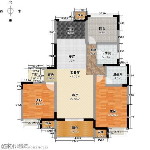 绿洲天逸城2室1厅2卫0厨125.00㎡户型图