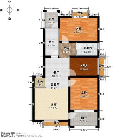 河畔花城3室1厅1卫1厨122.00㎡户型图