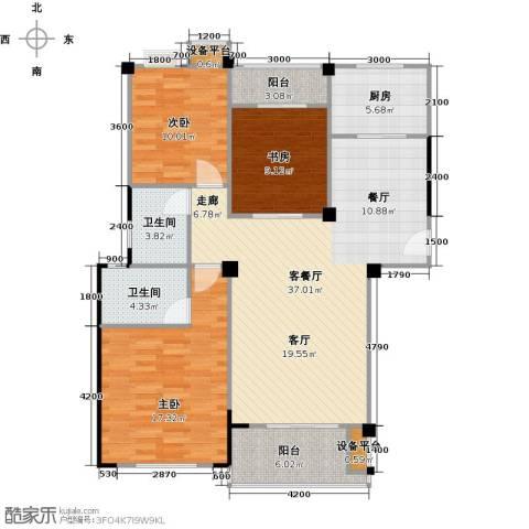 中央华府3室1厅2卫1厨132.00㎡户型图