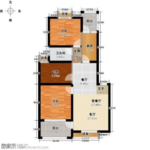 河畔花城3室1厅1卫1厨114.00㎡户型图