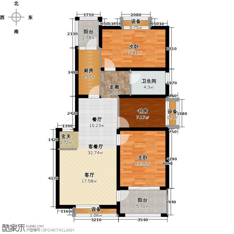 河畔花城户型3室1厅1卫1厨