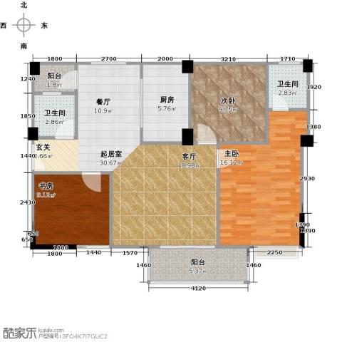 润恒国华瑞景3室0厅2卫1厨101.00㎡户型图