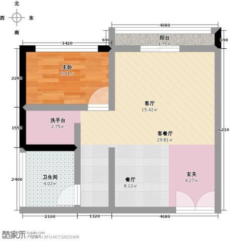尚城国际1室1厅1卫0厨62.00㎡户型图