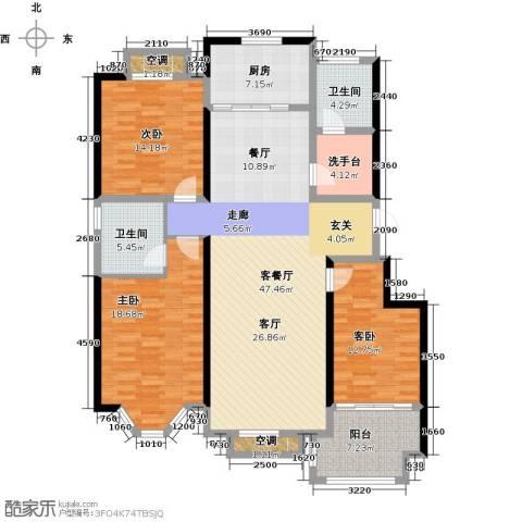 裕华铭珠3室1厅2卫1厨137.00㎡户型图