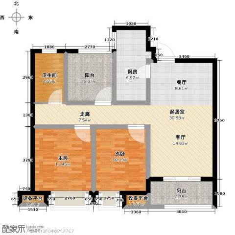 中海锦�湾2室0厅1卫1厨88.00㎡户型图