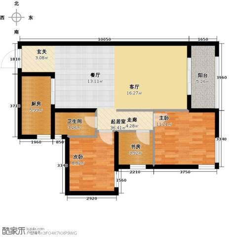 瑞华新都汇3室0厅1卫1厨106.00㎡户型图