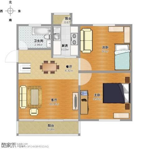 月秀花园2室1厅1卫1厨61.00㎡户型图