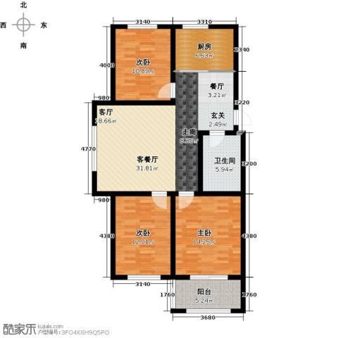 巴塞小镇3室1厅1卫1厨123.00㎡户型图