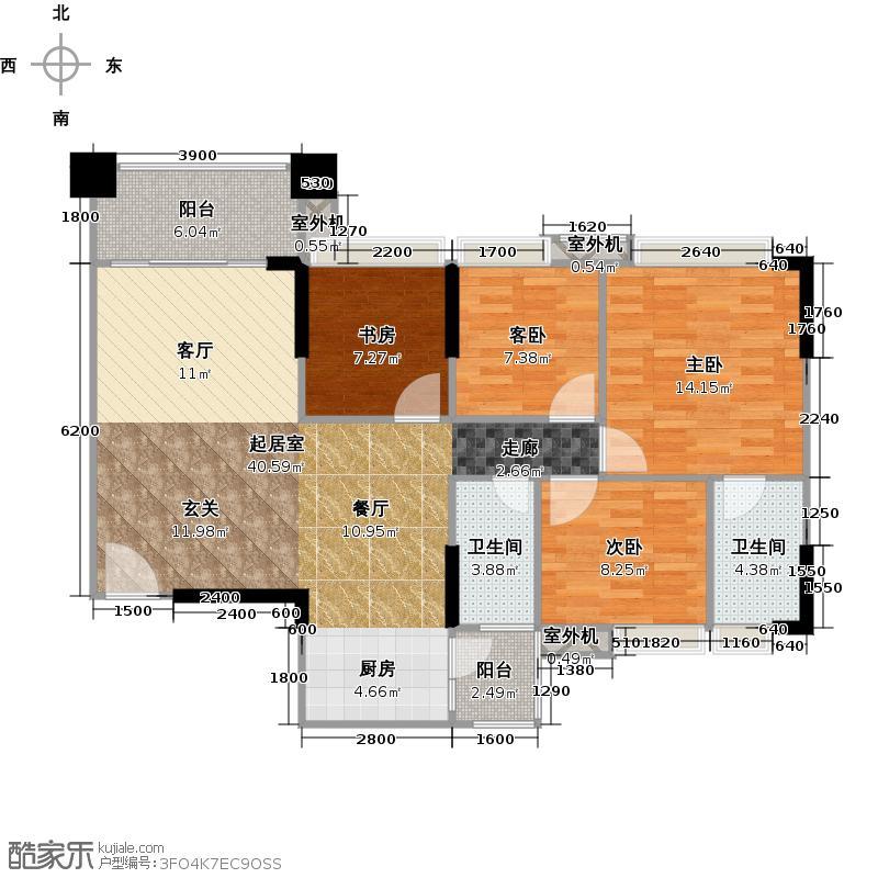 贝迪豪庭113.00㎡11/12栋02单位户型4室2厅2卫