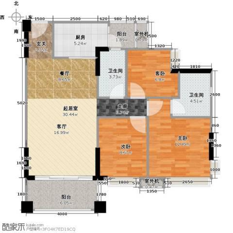 贝迪豪庭3室0厅2卫1厨99.00㎡户型图
