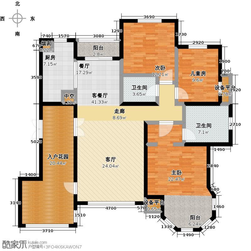 绿地大溪地141.32㎡三室二厅二卫户型3室2厅2卫