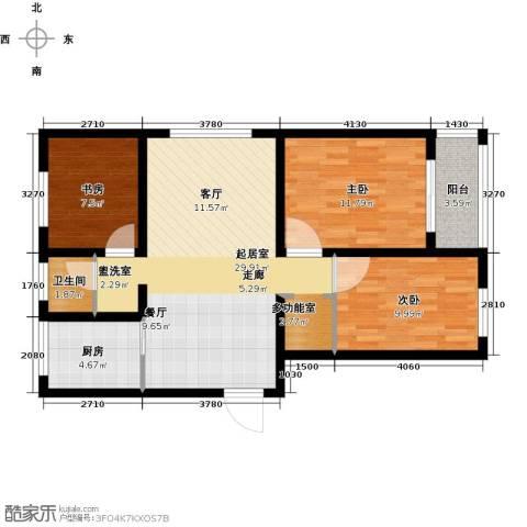 瑞华新都汇3室0厅1卫1厨100.00㎡户型图