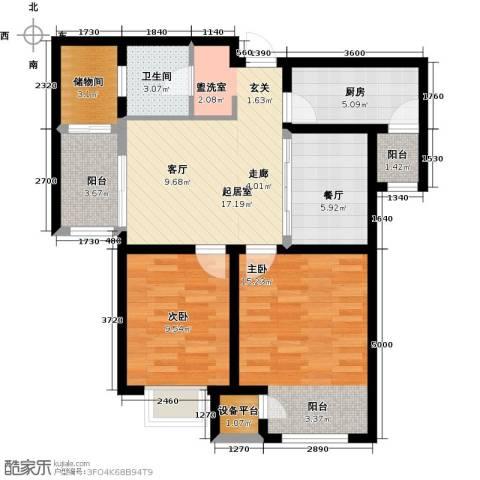 钱隆学府2室1厅1卫1厨81.00㎡户型图