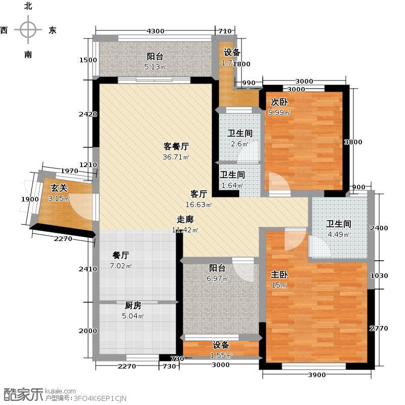 江河东澜湾114.60㎡D2户型2室2厅2卫