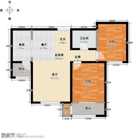 松江城玫瑰郡2室0厅1卫1厨96.00㎡户型图