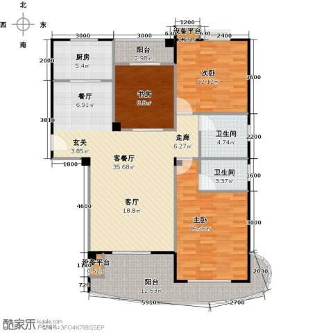 中央华府3室1厅2卫1厨140.00㎡户型图