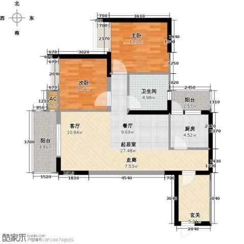翰城国际2室0厅1卫1厨85.00㎡户型图