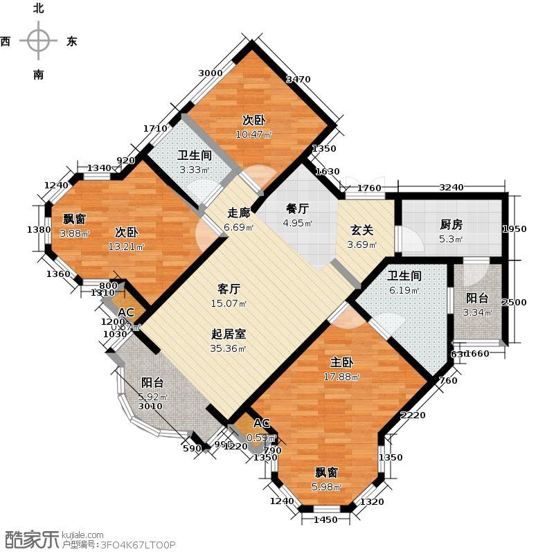 盛世名筑136.00㎡D1户型3室2厅2卫
