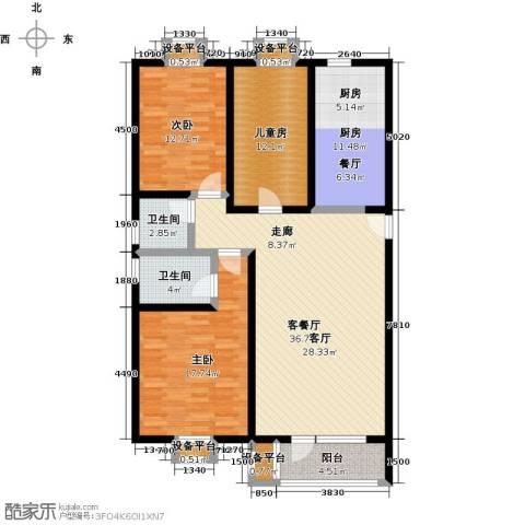 梨花江苑3室1厅2卫1厨132.00㎡户型图