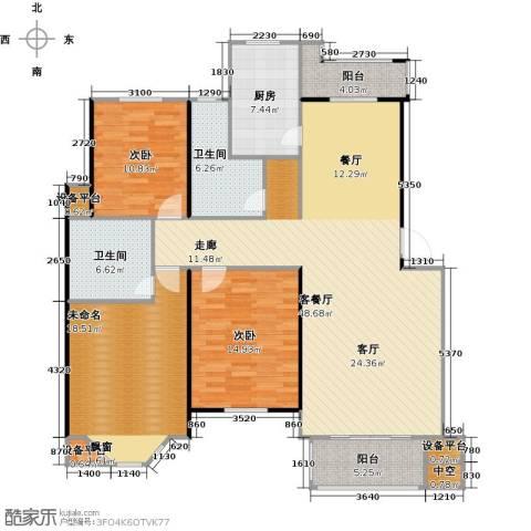 绿地华庭2室1厅2卫1厨169.00㎡户型图