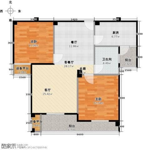 中央华府2室1厅1卫1厨102.00㎡户型图