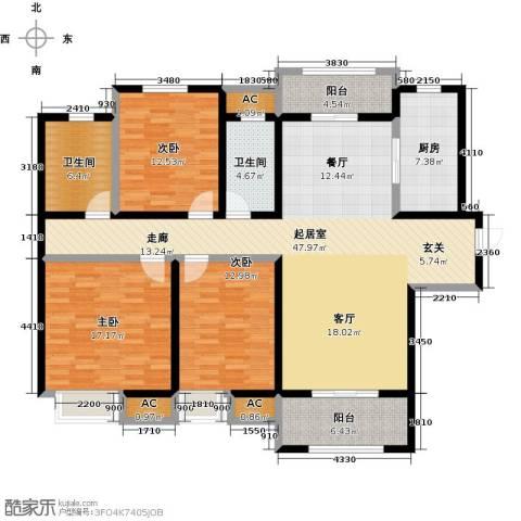 南通华润中心3室0厅2卫1厨135.00㎡户型图