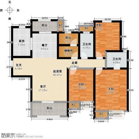 南通华润中心3室0厅2卫1厨143.00㎡户型图