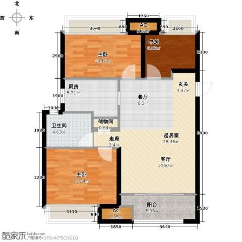 万科金色里程3室0厅1卫1厨106.00㎡户型图